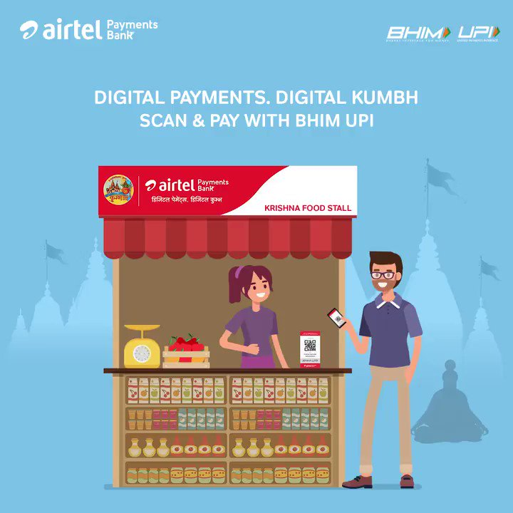 #AirtelPaymentsBank the official digital banking partner of Kumbh Mela 2019, brings to you a seamless & secure digital payments experience. For all your needs simply Scan & Pay using any #BHIMUPI enabled app at the Airtel Payments Bank powered merchants. @NPCI_BHIM @dilipasbe