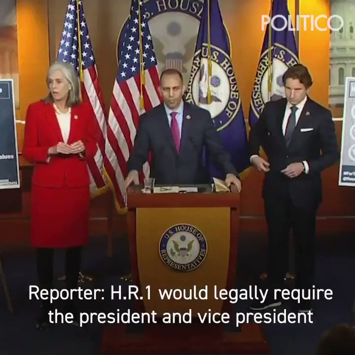 Reporter: H.R.1 would legally require the president and vice president to release their tax returns. Should House Speaker Pelosi be required?  Rep. Jeffries: That's a question that I think you should direct to Speaker Pelosi https://politi.co/2X2JxOu