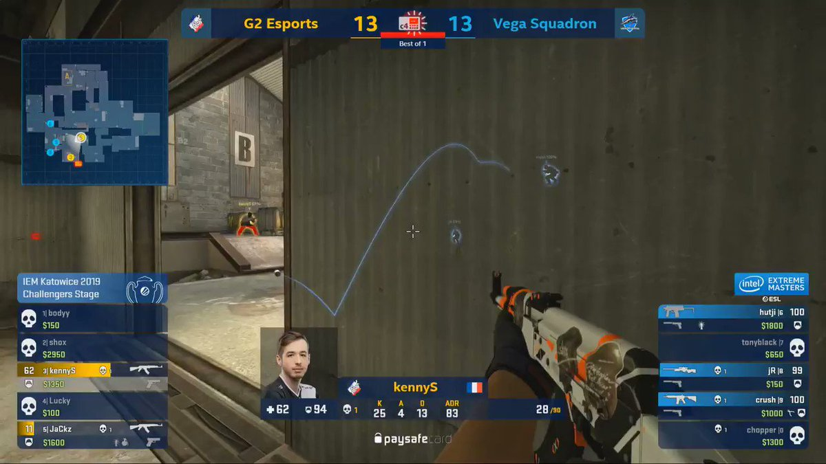 .@G2kennyS is a MACHINE with the AK 🤯  We take the win against @VegaSquadron 16-14. It was a nailbiter - GG WP gents 🤝