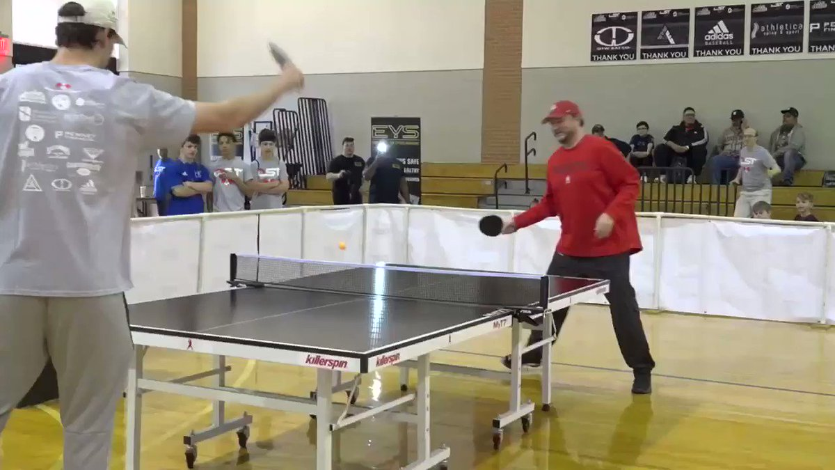 .@dmorey takes on @astros prospect Forrest Whitley at @DST_Houston's ping pong tournament tonight at 6:00 on @HoustonRockets All Access!!!