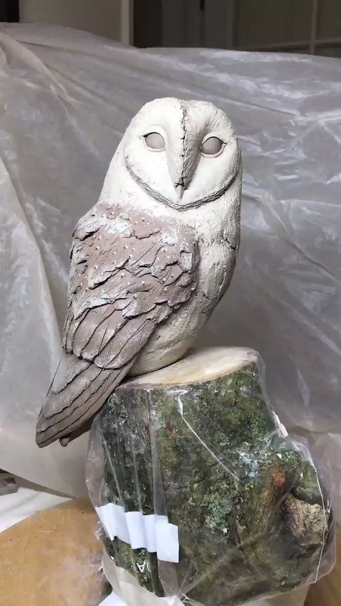 Barn owl finished #owl #ceramic #sculpture #clay #HandmadeHour