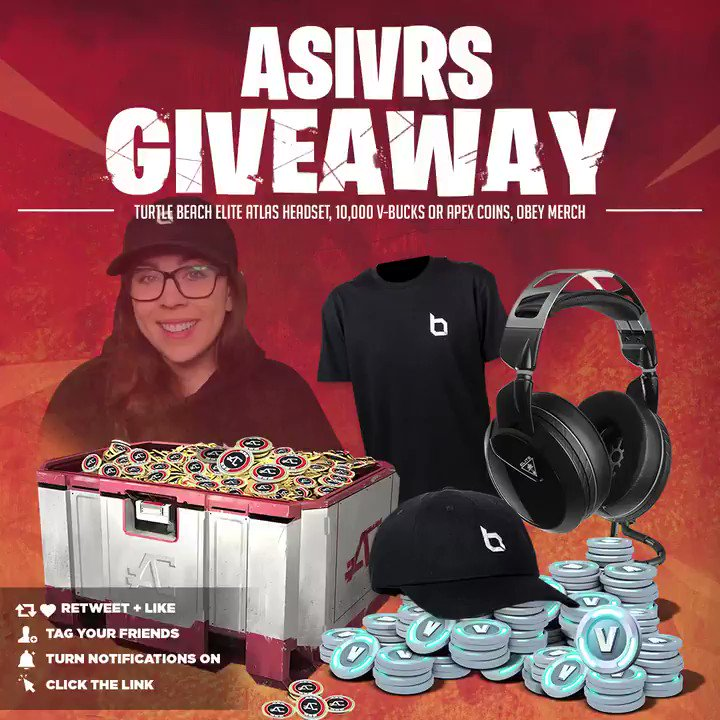 🚨 MASSIVE Giveaway 🚨  🎉Turtle Beach Elite Atlas Headset, Obey Merch, and 10,000 V-BUCKS or APEX COINS  👋 Tag Your Friends 🔔 Turn Notifications On 💞 Retweet, Like & Follow @Asivrs 🖱 Click Here To Enter: https://vast.gg/cqevf/  Winner selected on 2/28/2019