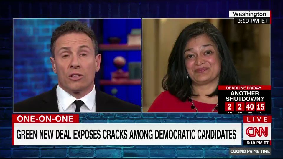 """.@RepJayapal makes the case for the Green New Deal and Medicare for All.  """"I think about [Martin Luther King's] phrase 'the tranquilizing drug of gradualism'...we have to got to understand that the place people are in may be far ahead of where Congress is."""""""
