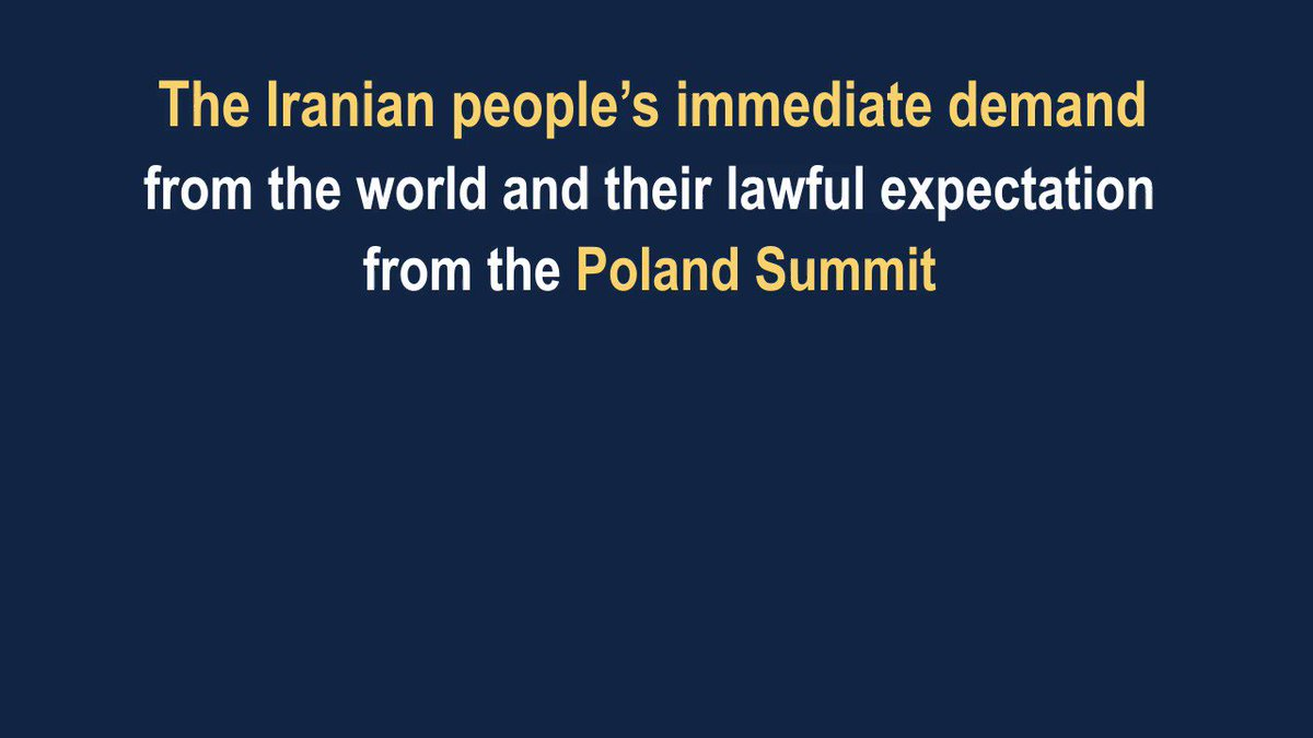 The Iranian people's immediate demand from the world and their lawful expectation from the #Poland Summit is for them to recognize the right of the Iranian people's Resistance to overthrow the mullahs' theocratic regime to achieve freedom. #WarsawSummit #Iran