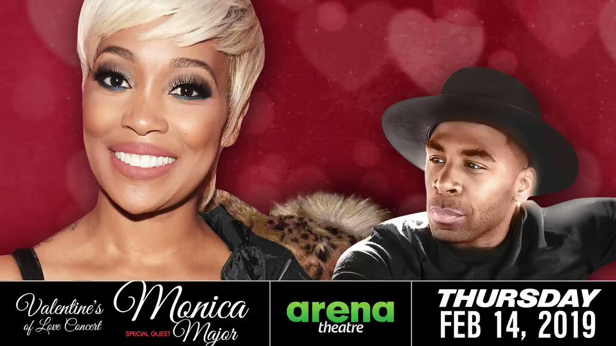 Are you ready? Get your tickets to see Monica and special guest Major LIVE in concert at #ArenaTheatre! Thursday, February 14, 2019! What are you waiting for?!  👉https://bit.ly/2tgiJMV -- #LIVEShow #Houston #ValentinesDay