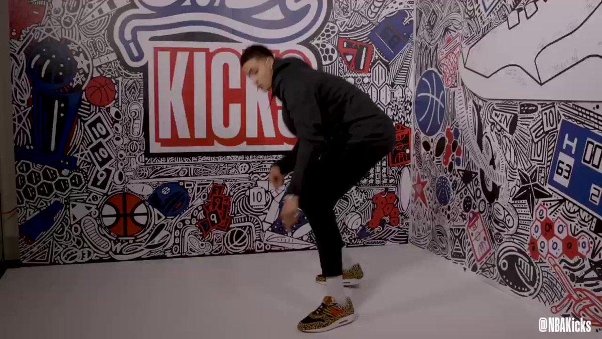 At the #NBAKicks Shoe Wall, @kuz shares a special message to his hometown Flint, Michigan! #NBAAllStar