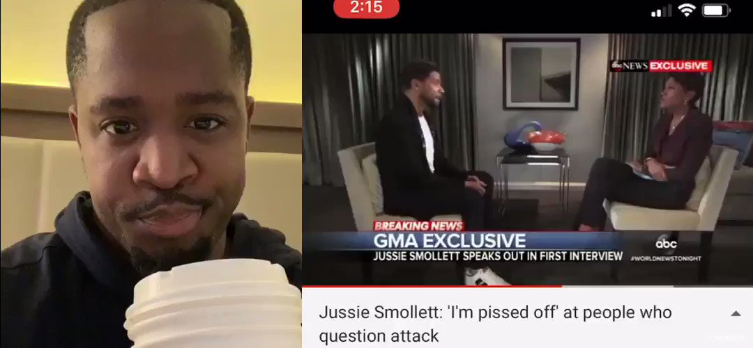 Jussie is PISSED off people don't believe he was attacked by Trump Supporters.  The FBI should arrest him for staging hate crimes & tip off CNN first.  * Who's with me?  * Name an award he should get for this acting ?