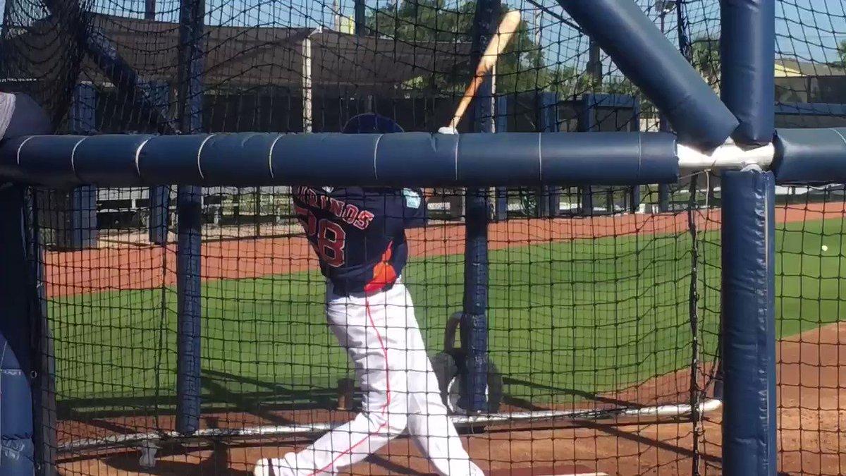 Robinson Chirinos (@Robinson28ch) and @MaxStassi10 hit with hitting coach Alex Cintrón (@CintronBaseball) watching.