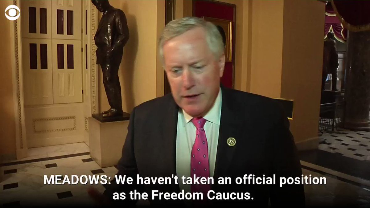 """FREEDOM CAUCUS CHAIR: """"I think there is wide support among all of my colleagues,"""" says @RepMarkMeadows of the emergency declaration https://cbsn.ws/2IpgyBc"""