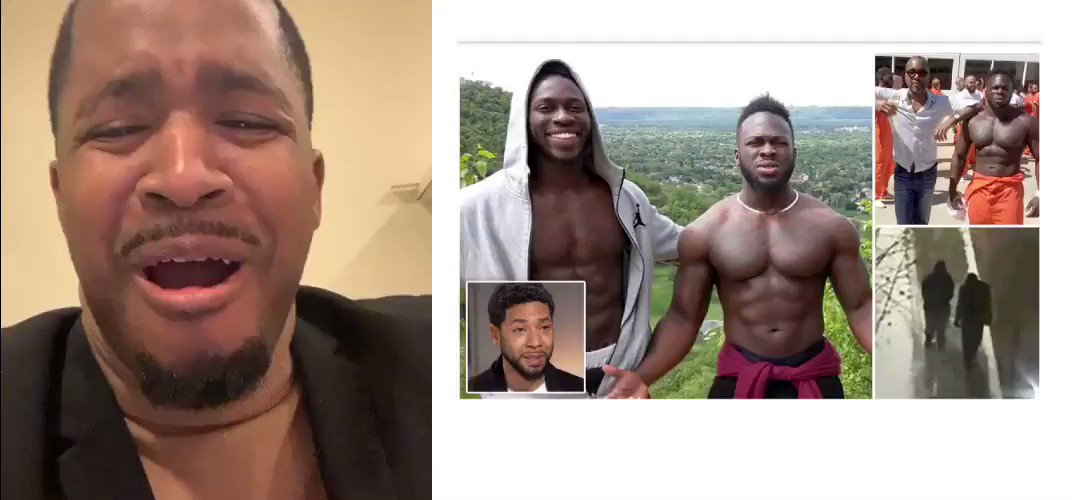 BREAKING NEWS! Police arrested the two suspects for the Jussie Smollett attack.  He said two White Trump Supporters attacked him with bleach and a rope. I must be colored blind because they look black!  RETWEET if you think he should go to jail for lying. http://www.chicagotribune.com/news/local/breaking/ct-met-jussie-smollett-persons-of-interest-20190215-story.html …