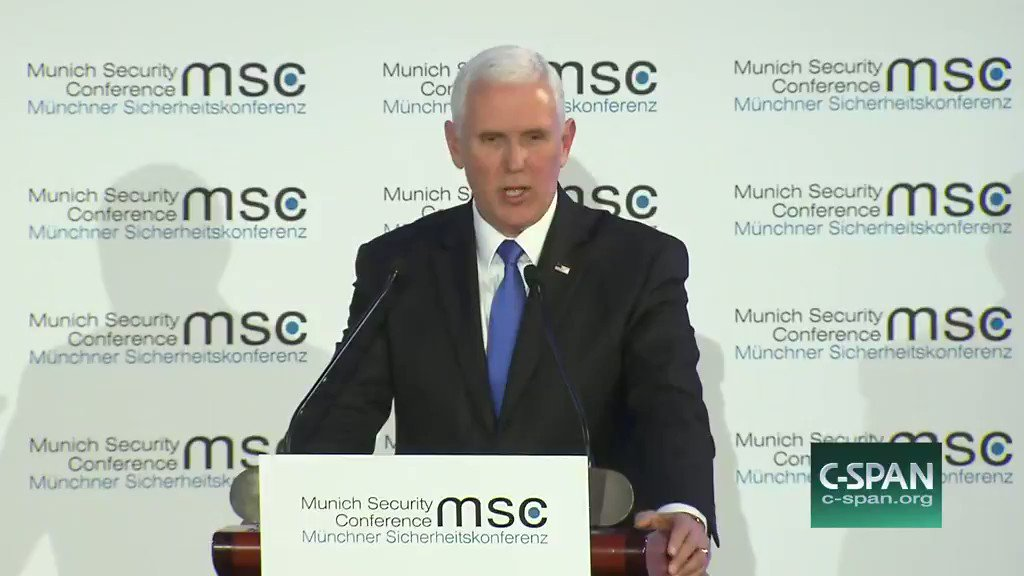 """Addressing U.S. allies at the Munich Security Conference, Mike Pence is met with silence as he tells the audience: """"I bring greetings from the 45th president of the United States of America, President Donald Trump."""""""