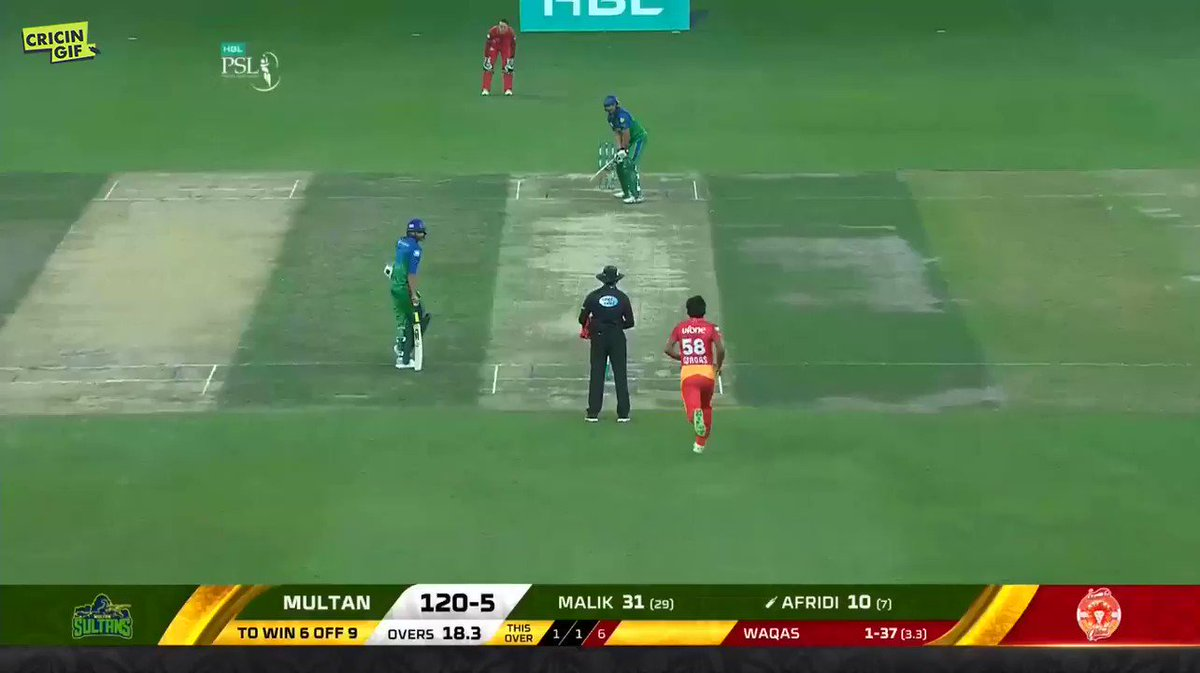 CLASSIC BOOM BOOM!  @SAfridiOfficial wins it for Multan Sultans in his very fashion. @MultanSultans win by 5 wickets  Scorecard and ball-by-ball details 👉 https://www.cricingif.com/match/5761/  #PSL2019 #IUvMS #KhelDeewanoKa #CricketForAll
