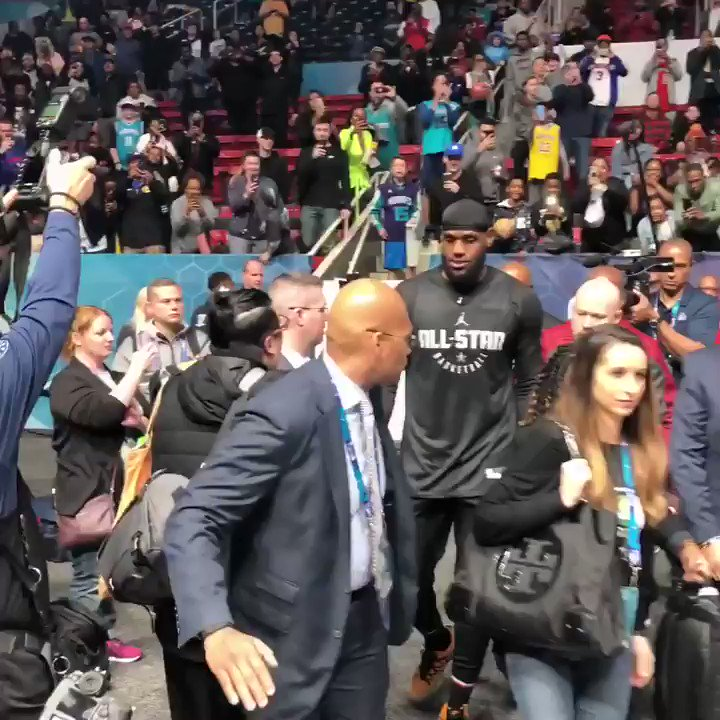 Arriving to the podium... @KingJames! #NBAAllStar  WATCH: http://mediaday.nba.com