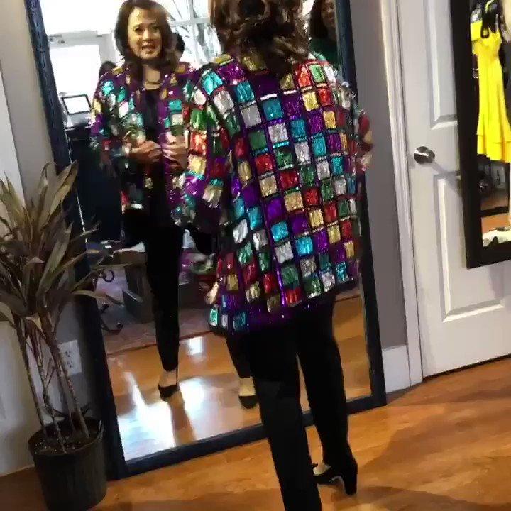 "We kind of forced @kamalaharris to try on this awesome oversized rainbow sequin jacket ... She snapped it up. @alivitali perfectly named it as ""the Mardi Gras Jacket"" #2020 #SouthCarolina #CampaignFashionReport"