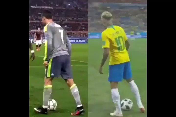 Who did it better?  @Cristiano or @neymarjr  - #football #brazil #Portugal #Neymar #Cristiano #LaLiga #sports #Barcelona #RealMadrid #juventus #PSG #paris