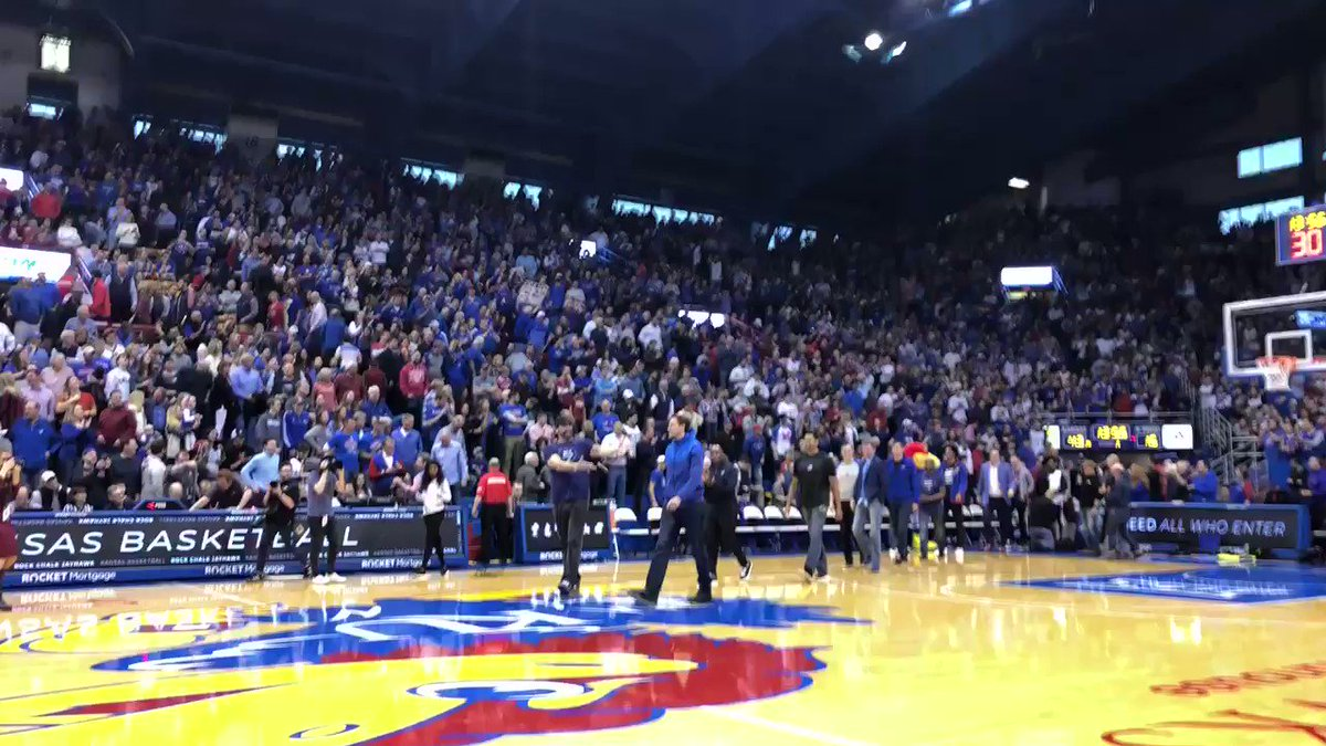 All of those #KUbball alums who came back were introduced at halftime. Svi might've gotten the loudest cheer. You be the judge.