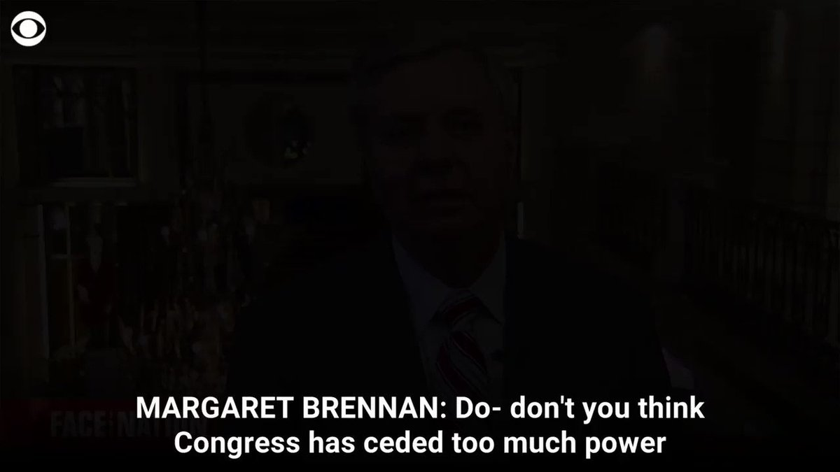 """Congress is locked down and will not give him what we've given past presidents,"" @LindseyGrahamSC told @margbrennan, for an interview airing tomorrow  https://cbsn.ws/2IiBYjl"