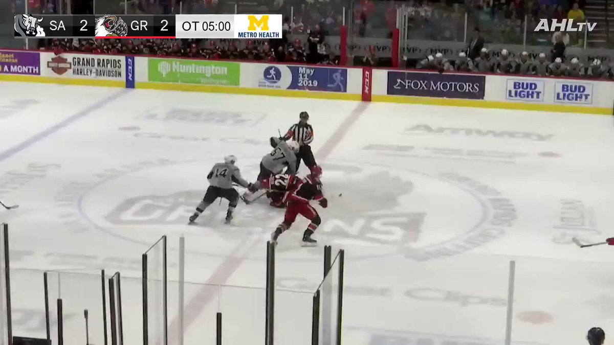 Comeback complete for @griffinshockey!   Two goals in the last two minutes of play capped off with this beauty from @DetroitRedWings prospect Filip Zadina for the OT game-winner.