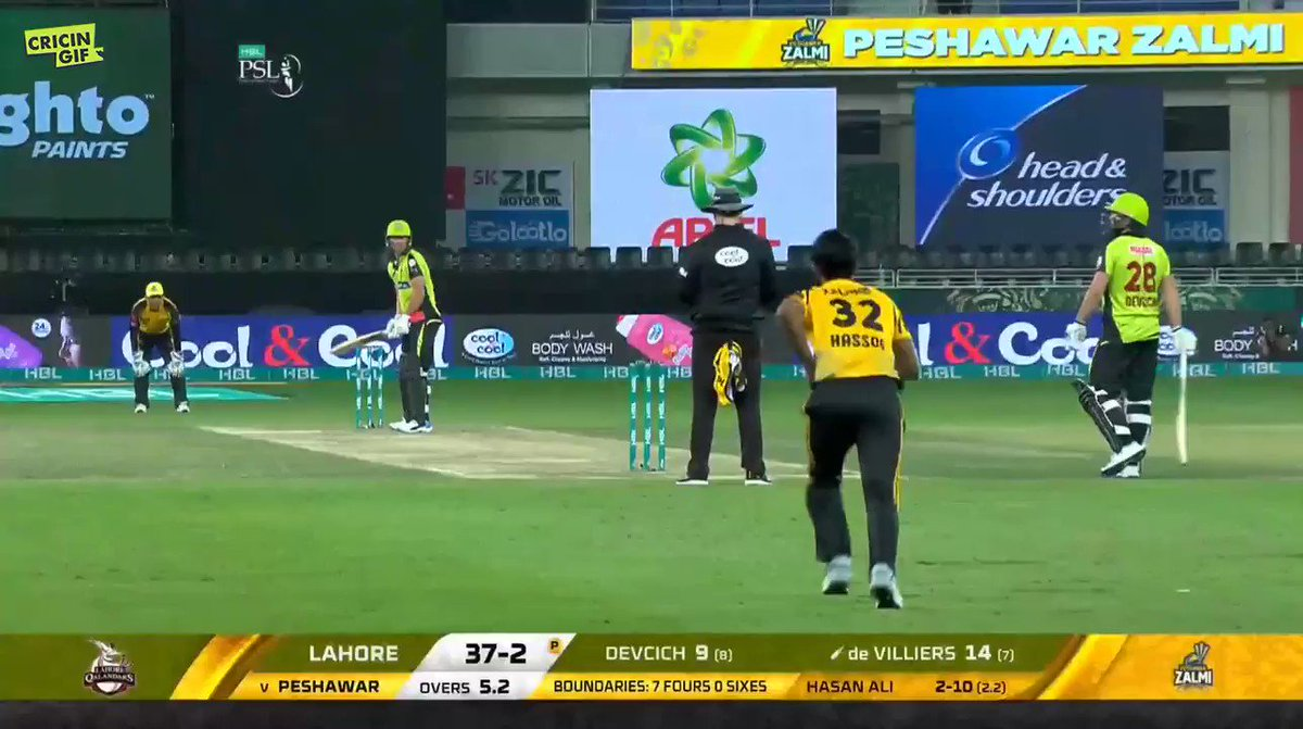 HASAN ALI BOWLS AB DE VILLIERS!  @RealHa55an disturbs the timber and @ABdeVilliers17 (14) is removed. @PeshawarZalmi are all over @lahoreqalandars now   Scorecard and ball-by-ball details 👉 https://www.cricingif.com/match/5764/            #PZvLQ #PSL2019 #KhelDeewanoKa #CricketForAll