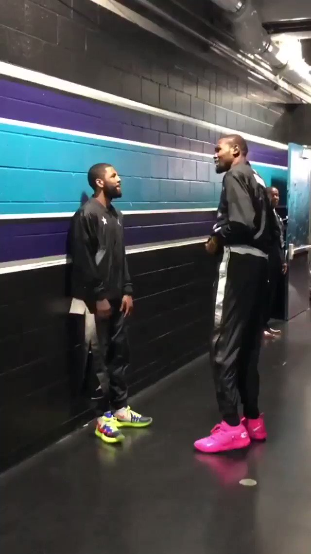 Kevin Durant and Kyrie Irving last night 👀  (@jpizzy15 sent me the video)
