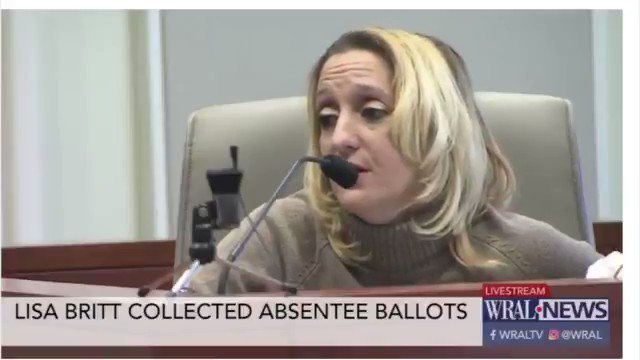 Lisa Britt, McCrae Dowless's step-daughter.  ATTORNEY: If it was unsealed and the ballot was not completely voted, you would fill in the other offices?  BRITT: Yes ma'am. ... ATTORNEY: And who would have directed you to do that? BRITT: Well we were directed by Mr. Dowless.