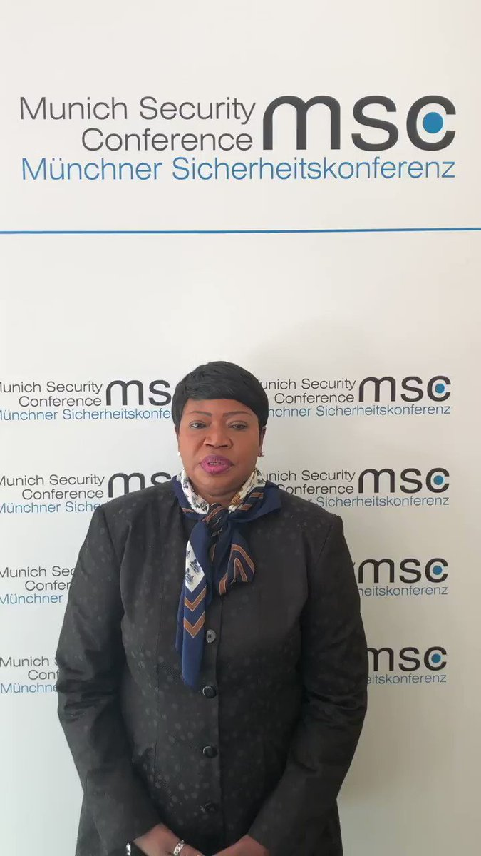#ICC Prosecutor #FatouBenaouda: 'I have participated in #MSC2019 to bring to the discussions much needed attention on accountability for atrocity crimes as a key component to ensuring more stable and #secure societies.' #justicematters #buildingsupport