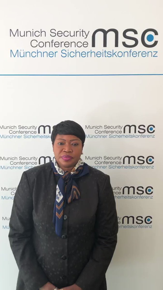 #ICC Prosecutor #FatouBensouda: 'I've also met w/t world leaders & other rep. of int. & regional organizations as well as #civilsociety to build support for my Office's operations. #Cooperation is crucially important for effective prosecution of atrocity crimes' #MSC2019