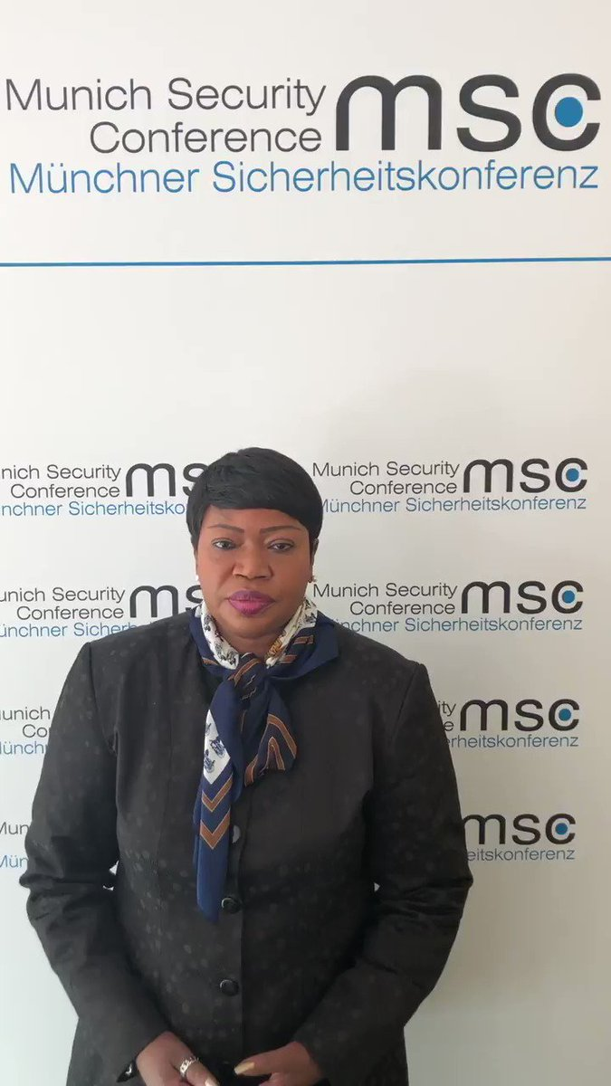 #ICC Prosecutor #FatouBensouda at #MSC2019: 'Ending #impunity for atrocity crimes, through independent and impartial prosecutions/judicial proceedings, must become a globally shared objective, for the sake of #victims and #humanity as a whole' #justicematters #endimpunity