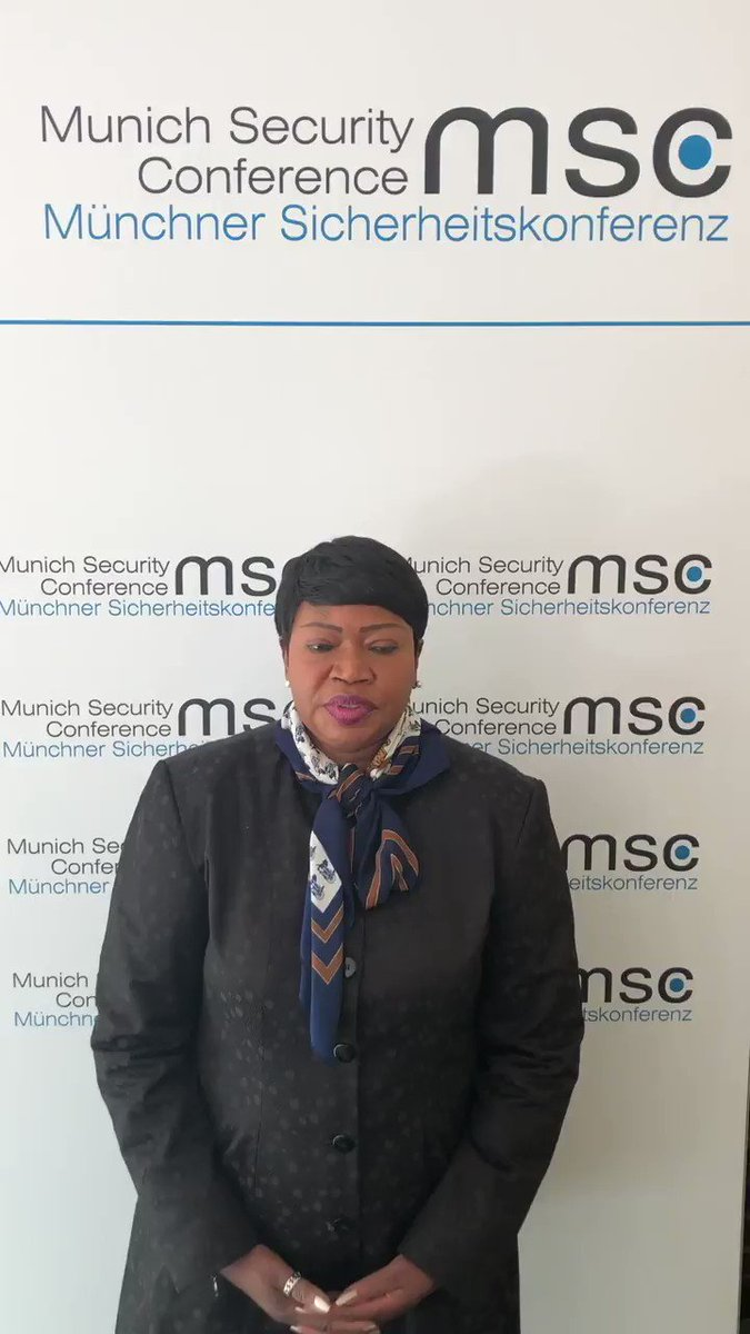 #ICC Prosecutor #FatouBensouda at #MSC2019: '#ICC, as an independent permanent international criminal court of last resort will continue to pursue its important mandate #undeterred, notwithstanding challenges, occasional setbacks and, at times, hostile attacks' #justicematters