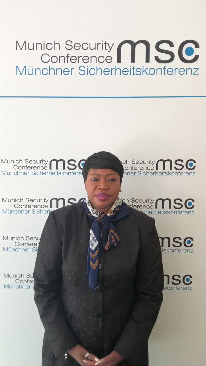 #ICC Prosecutor #FatouBensouda at #MSC2019: 'Atrocity crimes that shock conscience of #humanity are a threat to #peace & #security. If we're interested in finding solutions to security challenges, accountability for such crimes has a rightful place in the discussions'@MunSecConf