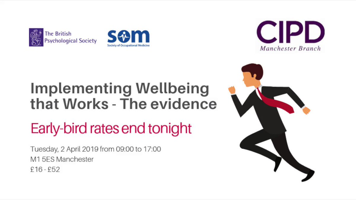 Have you booked for our #Wellbeing Conference in Manchester on 2 April with @BPSOfficial and @SOMNews Early-Bird rates end in a few hours.  You'll find the booking link in our bio. #Manchester #conference #HR