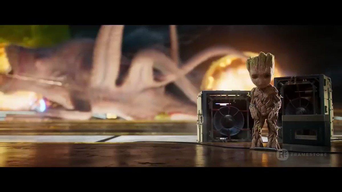¿Abrimos hilo sobre la producción y los #VFX de #GuardiansOfTheGalaxyVol2? Va. Película en la que participé junto a mis compañeros en Scanline.  Comenzamos con la primera secuencia y hablando del bailarín #BabyGroot. Así le dieron vida en Framestore. #cine #Marvel #Groot