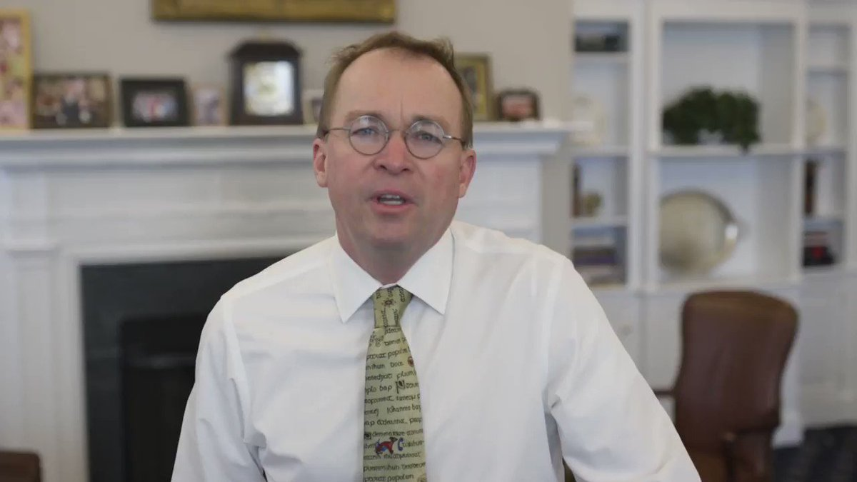 An update from Mick Mulvaney after this morning's senior staff meeting:
