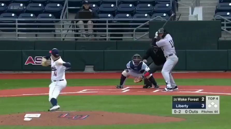 Liberty outfielder makes diving-over-the-fence catch for first official web gem of baseball season