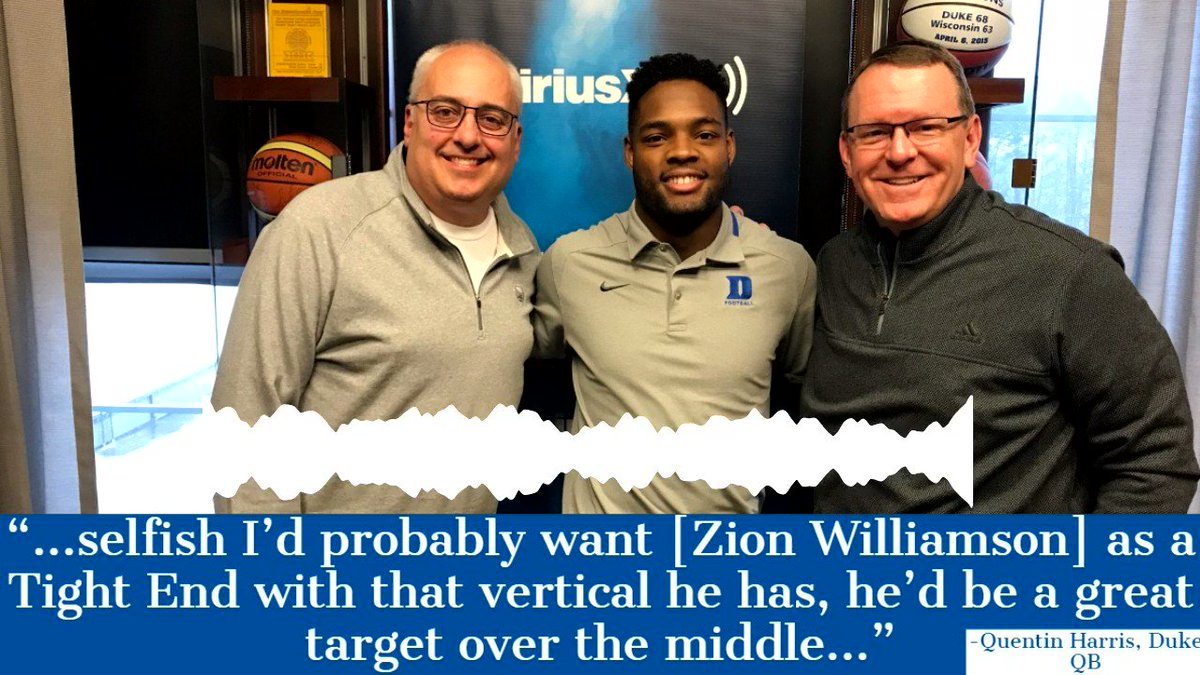 #Duke QB Quentin Harris (@qharris18) joined @MarkPacker & @WesDurham live in Coach K's office and Pack asked him a Zion Williamson hypothetical! #ACCCentral #WhereTheLocalsHang   SiriusXM ACC Radio Channel 371