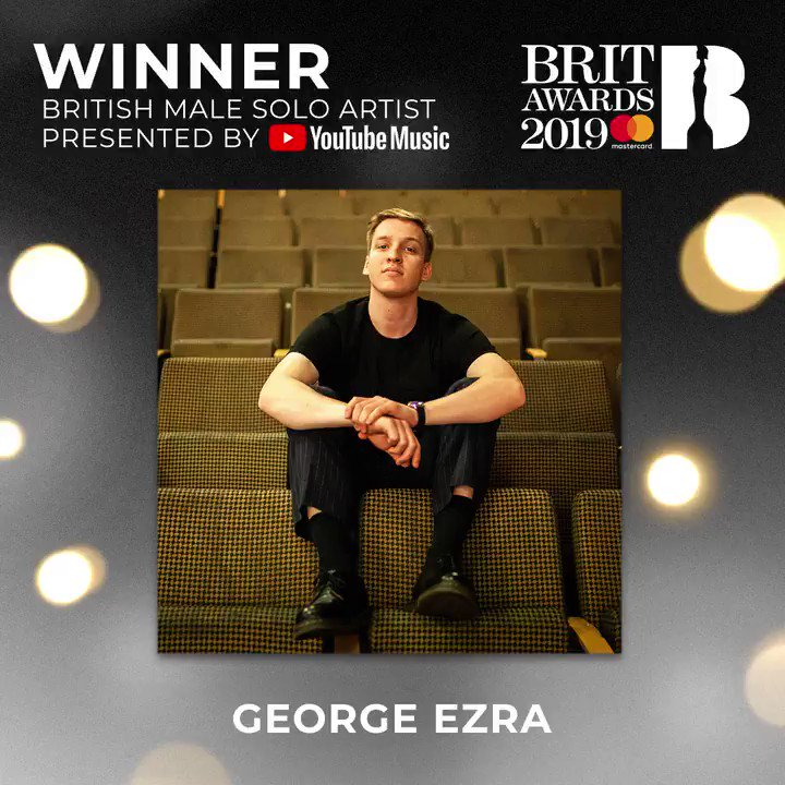 The winner of British Male presented by @youtubemusic at The #BRITs 2019 is... @george_ezra