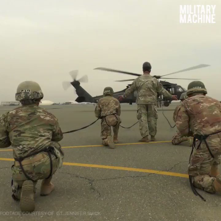 Moments before these soldiers rappel out of a helicopter, they are stoic and poised to the task at hand.  This video features soldiers during phase 3 of an Air Assault course held on Camp Buehring, Kuwait, as well as members from the Oklahoma National Guard at Camp Gruber.