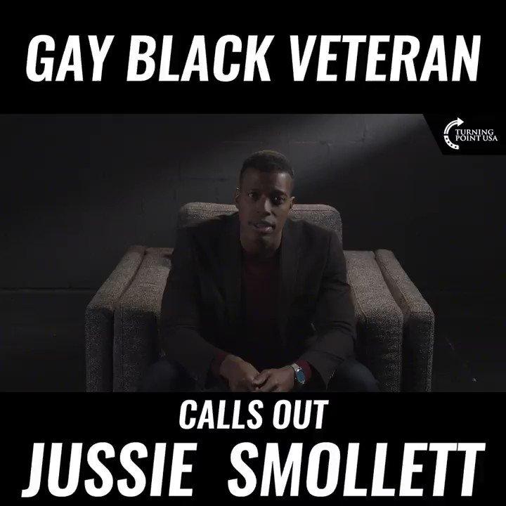 "First video at @TPUSA:   ""I'm a gay, black, veteran - my message to @JussieSmollett""  🔥🔥🔥🔥"