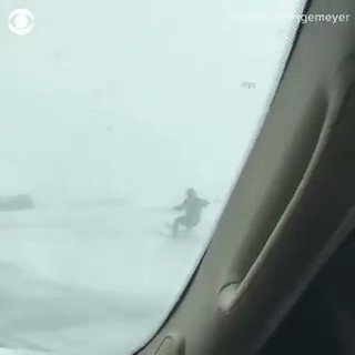 ENJOYING THE SNOW! A driver in Minnesota  spotted an Amish man skiing behind his horse drawn buggy.  YOU DON'T SEE THIS EVERY DAY!