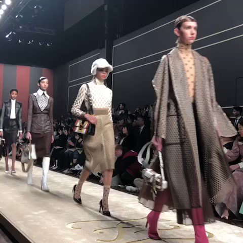 More final @fendi from Karl: laser-cur leather, logos, tailoring. Irony #MFW