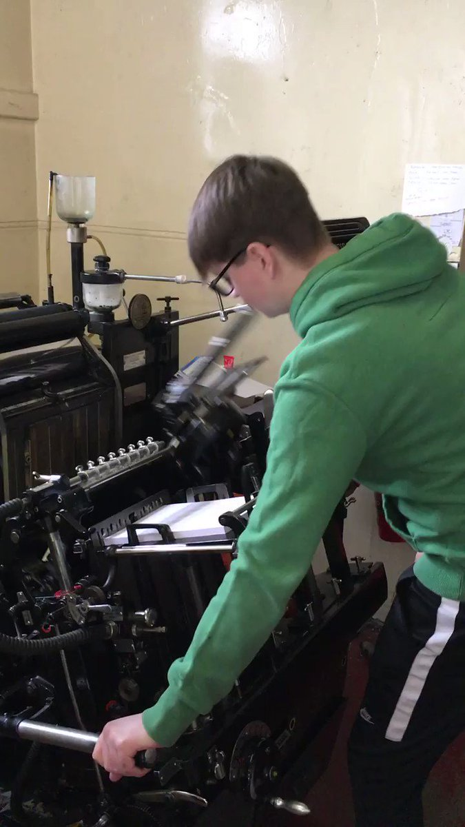 Image for the Tweet beginning: Our apprentice printer Arran is