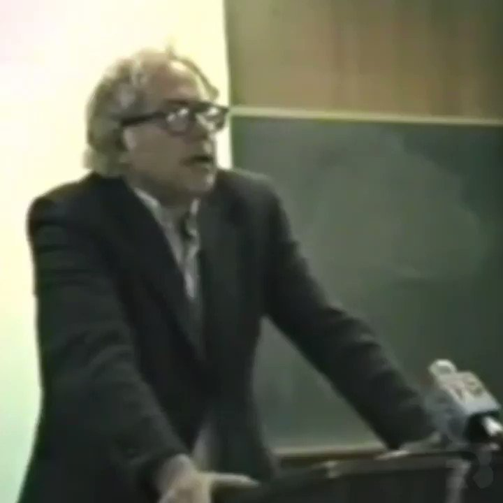 "Video: @BernieSanders, University of Vermont, 1986, recalls his excitement watching Castro's revolution ""rising up against the ugly rich people."" & his sick feeling watching JFK speak out against communism in Cuba.   Also bashes the @nytimes for lying about communism."