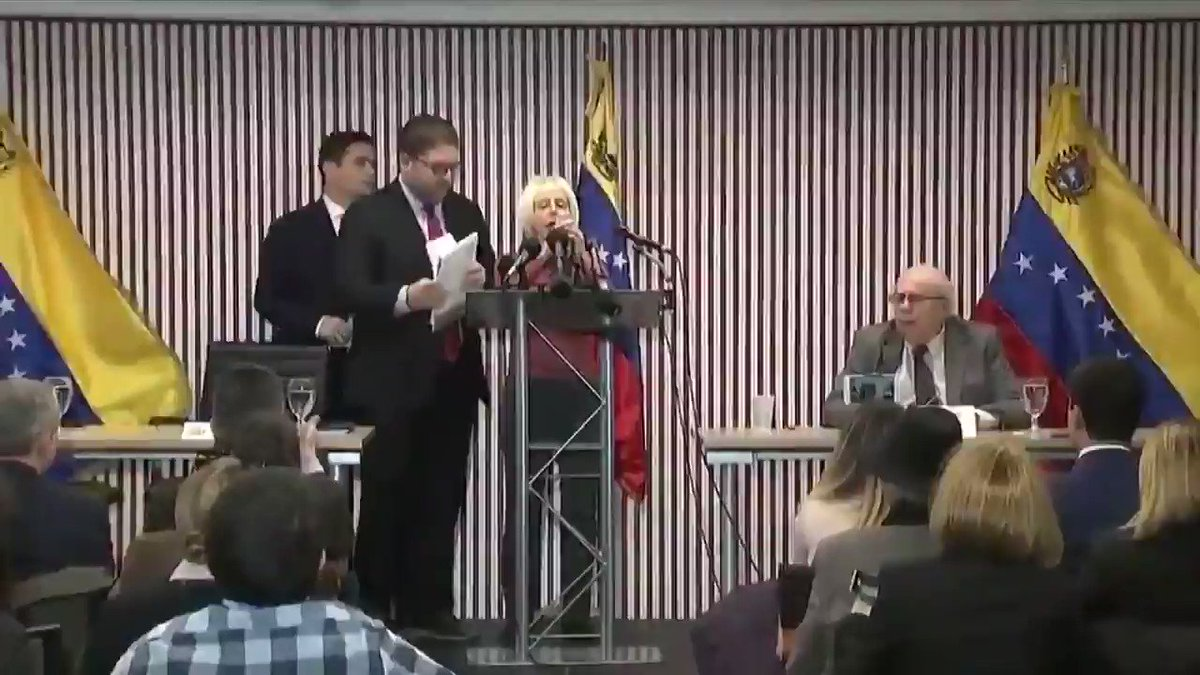 """BREAKING: @medeabenjamin and @ArielElyseGold just disrupted Carlos Vecchio, illegitimate Venezuelan """"president"""" Juan Guaido's envoy to the US. The US is facilitating a coup that may very well lead to a civil war. We say: no coup, no civil war, no imperialism! #HandsOffVenezuela"""