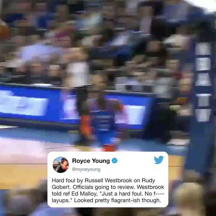 Russ let the officials know he's not giving up any easy layups. (via @royceyoung)