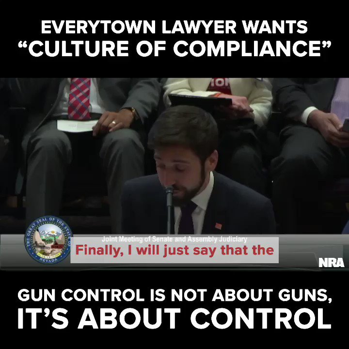"""When testifying on Nevada's """"universal"""" background check law, William Rosen, atty for Everytown, said the purpose of the proposed legislation is to create a """"culture of compliance."""" He proved that anti-gunners' plan is to control gun owners, not crime. ➡️ http://bit.ly/BloombergsMasterPlan…"""