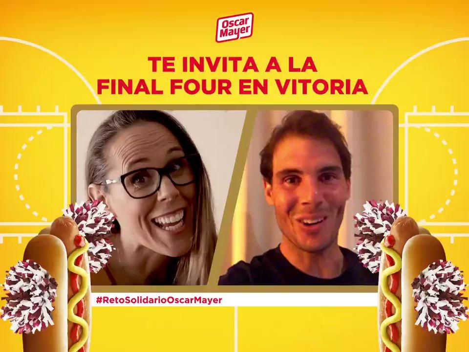 Llega el #RetoSolidarioOscarMayer con @RafaelNadal y @valdemoro13 🧡 Por cada pronóstico donaremos 2€ a la @frnadal además, podrás ganar 2 entradas + alojamiento para la #FinalFour en Vitoria! 🏀 Responde a la pregunta del vídeo 🏀 Menciónanos y añade #RetoSolidarioOscarMayer
