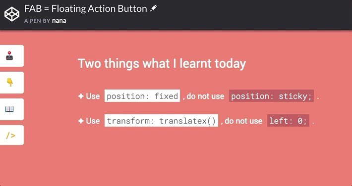 Floating Action Button Css Codepen
