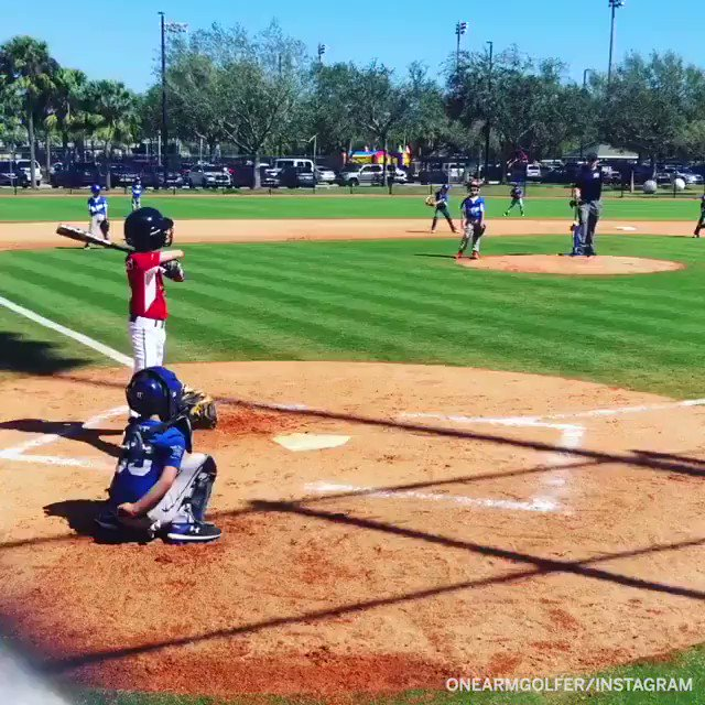 Replying to @espn: One-armed Little Leaguer Tommy Morrissey blasts an inside-the-park home run! (via @onearmgolfer)