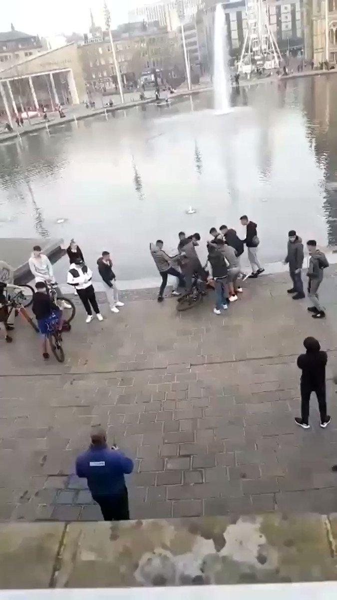 This is Bradford. This is the state of Britain   Now imagine the victim was a Muslim and the aggressors were white.  Imagine the reaction speed   Where are you @WestYorksPolice  Who is the 'security' in blue?
