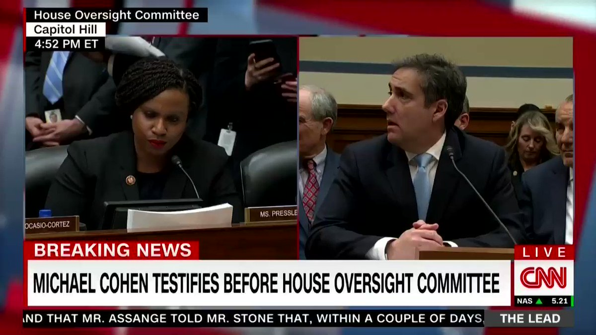 Rep. Ayanna Pressley (D-MA): Would you agree that someone could deny rental units to blacks, lead the birther movement, refer to black countries as shitholes, call white supremacists fine people, have a black friend and still be racist?  Michael Cohen: Yes.  Pressley: I agree.